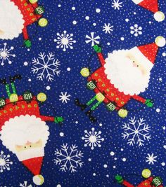 Holiday Inspirations Fabric-Santa With Ornaments Glitter