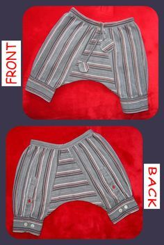 Recycled baby harem pants , Free sewing pattern
