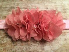 Dusty Pink, Three Flower Headband with center Rhinestone & Pearl Detail  $9