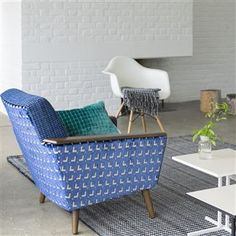 A very composed cut velvet, its tile geometric creates structure and pattern, and its exposed linen look ground offers relaxed natural tone. Living Room Chairs, Royal Blue Color, Fabric, Loft Decor, Indigo Fabric, Designers Guild, Upholstery, Fabric Design, Blue Accent Chairs Living Room
