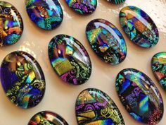 12 Oval DICHROIC Mosaic Fused Glass PENDANT/CABOCHONS Tiles Drawer Knobs Pulls 2
