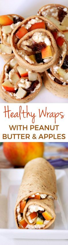 Healthy wraps with peanut butter (or sunflower seed butter for a nut-free version), apple, cottage cheese and raisins are a great make-ahead lunch perfect for the lunchbox. Can be made gluten-free.