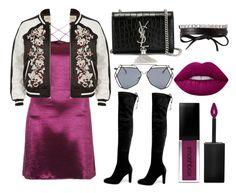 """Purpledress"" by cynthianavarro-1 on Polyvore featuring moda, Motel, Stuart Weitzman, River Island, Yves Saint Laurent, Fallon, Lime Crime y Smashbox"