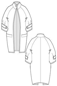 Fari Coat - long cocoon coat. flat drawing by Ralph Pink
