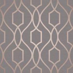 Apex Geometric Trellis Wallpaper Charcoal Grey and Copper Fine Decor FD41998 - World of Wallpaper 7.99