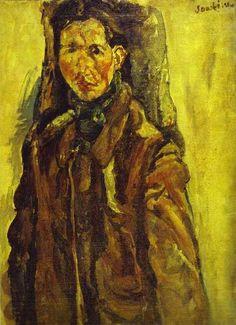 Chaim Soutine (French-Jewish-Belarusian: 1893 – 1943) - Self Portrait by Curtain (1917)