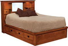 Amish Outlet Store : Captains Platform Bed w/Lights in Cherry