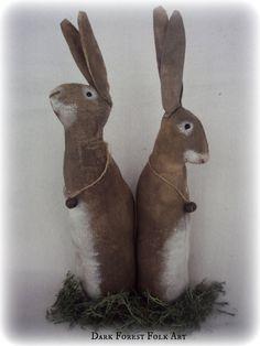 Primitive Rabbit Set shelf sitter bowl by DarkForestFolkarts