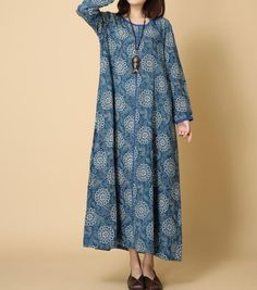 Women Loose cotton and linen spring long dress long Robe by MaLieb
