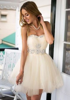 Apricot Beaded Prom Dresses 2016 Short Cheap Strapless Rhinestones Sequins Sweetheart A Line Tulle Mini Plus Size Party Evening Gown Custom Prom Dress Design A Prom Dress From Bestdavid, $120.61| Dhgate.Com