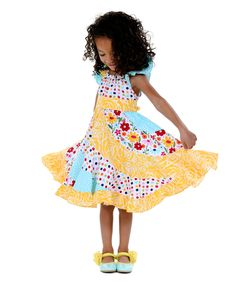 Look what I found on #zulily! Yellow & Rainbow Spring Bling Flo Dress - Toddler & Girls by Jelly the Pug #zulilyfinds