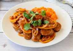 Food and drink Budget recipes. Budget Friendly 20 Minute Devilled Sausages With Sweet Potato Mash. Devilled Sausages Recipes, Deviled Sausages, Sausage Recipes, Beef Recipes, Cooking Recipes, Curried Sausages, Slow Cooking, Easy Cooking, Healthy Mummy Recipes