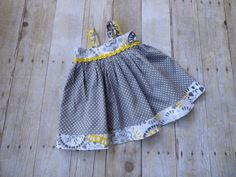 Toddler dress in gray and yellow by EmelineDesign on Etsy
