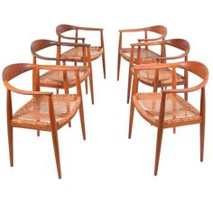 """Hans Wegner Set of Six """"501"""" Armchairs for Johannes Hansen for Knoll USA ca.1970's. These were the Kennedy-Nixon debate chairs, FYI."""