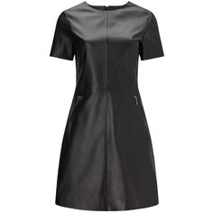 Phase Eight Lucie Leather Dress, Black ($290) ❤ liked on Polyvore featuring dresses, midi dress, short sleeve dress, sleeved maxi dress, shift dress and leather dress