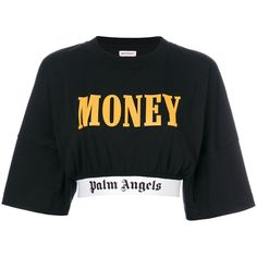 Palm Angels cropped logo trim T-shirt (9,060 THB) ❤ liked on Polyvore featuring tops, t-shirts, black, cotton logo t shirts, cotton crop top, crop tee, logo top and cotton tee