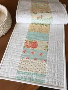 Fresh Dew Drops: Avalon leftovers - a pretty little runner, Fig Tree Avalon charm pack quilt runner, white quilt binding Jellyroll Quilts, Easy Quilts, Small Quilts, Mini Quilts, Scrappy Quilts, Table Runner And Placemats, Table Runner Pattern, Quilted Table Runners, Charm Pack Quilt Patterns