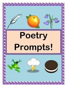 """Use these fun """"POETRY PROMPTS"""" to write poems using ALL THE FIVE SENSES!  Your kids will create great DESCRIPTIVE LANGUAGE to write poems that include frogs, feathers, thunder, and anything else they would like to add!  Write GROUP POEMS together, or make FOLDER GAMES for kids to use individually in Centers.  Includes reusable """"Poetry Prompts"""" Template, 30 """"Five Senses Picture Cards"""", and all you need to make your Poetry MULTI-SENSORY!  (16 pages)  From Joyful Noises Express TpT!  $"""