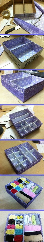Diy Carton Container- I have been doing this for years with contact paper. Scrap book paper offers much more variety. Diy Organizer, Diy Organization, Dresser Drawer Organization, Diy Storage, Storage Boxes, Craft Tutorials, Craft Projects, Underwear Storage, Underwear Organization