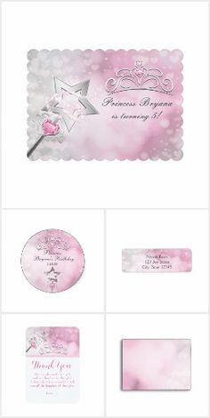 Princess Wand & Crown Silver Pink Party Collection
