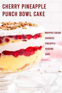 A deliciously fresh cake recipe that is perfect for warmer weather! Make this easy Cherry Pineapple Punch Bowl Cake recipe your go-to dessert for summer entertaining! This Cherry Pineapple Punch Bowl. Most Popular Desserts, Desserts For A Crowd, Easy Desserts, Delicious Desserts, Homemade Cake Recipes, Best Dessert Recipes, Amazing Recipes, Punch Bowl Cake, Sugar Free Pudding