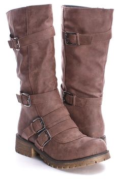 Taupe Faux Leather Buckle Accent Combat Boots $29