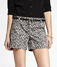 4 1/2 BELTED IKAT PRINT STRETCH COTTON SHORTS-Express