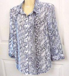 ANA  Petite PL Long Sleeve Shirt GRAY / White Polyester Button Down Front #ANAPetitePL #ButtonDownShirt #CasualorCareer
