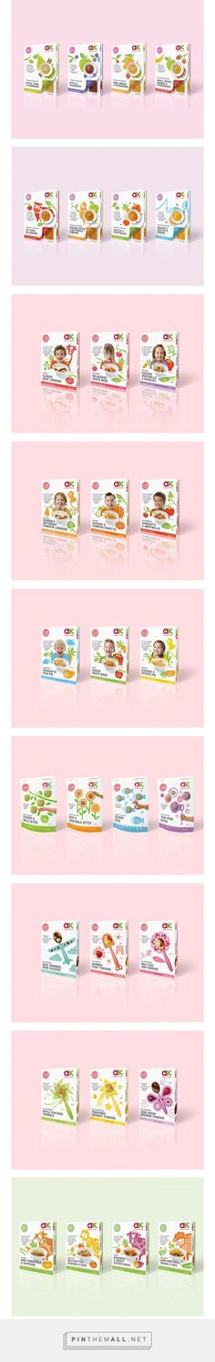 ANNABEL KARMEL Baby, Toddler, Children's Food Illustrations and Packaging Designs via Dessein curated by Packaging Diva PD. Food playfully interacts across the design with a colourful collection of illustrated cows, chickens, fish and veggies across the packaging : )