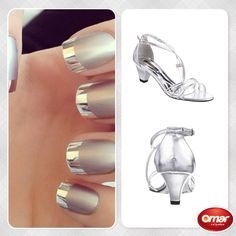 #nails #silver #glam #shoes