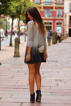 Black leather ankle boots, silver crossbody bag, black gray ombré tie dye cardigan or long sleeve dress