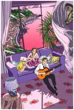 Amazon.co.jp: わたせせいぞう ポストカード 『〜茜色のとき〜 汐風のボサノヴァ』(W09003K): 文房具・オフィス用品