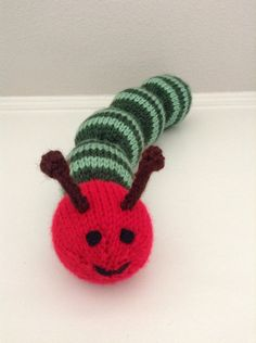 Knitted Caterpillar Soft Toy  Caterpillar by EightLittleFingers, $12.00