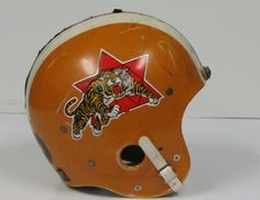 Game helmet worn by Clem Turner during the 1967 season. Sports Uniforms, Sports Teams, Canadian Football League, Helmet Logo, Football Pictures, Professional Football, Vintage Football, Football Helmets, Hamilton