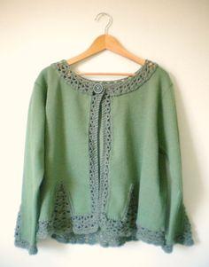 Upcycled Fleece Sweatshirt Jacket in Fern Green by HermitsOfAfton, $35.00