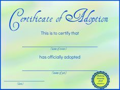 Free printable stuffed animal adoption certificate free for Novelty birth certificate template