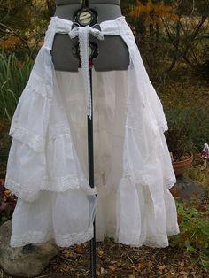 Bustle Skirt Steampunk Victorian Wrap White - Steampunk Skirt | Bustle Skirt Steampunk Victorian Wrap White by meankittywear