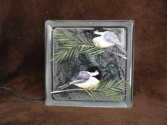Glass Block Light-Lamp-Night Light-Chickadees by bestemancreations Painted Glass Blocks, Hand Painted, Block Painting, Great Night, Gifts For Family, Bird Houses, Lamp Light, Night Light, Arts And Crafts