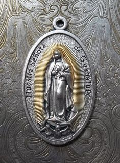 Nuestra Senora De Our Lady Of Guadalupe Italian Holy Medal Patron of the Americas, Blessed Virgin Mary Mother Of God, Pray For Us, With Rose