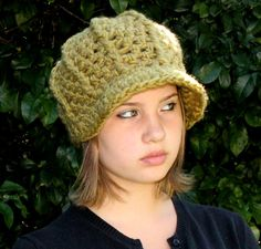 Cloche adult newsboy winter beanie Hat Olive Green