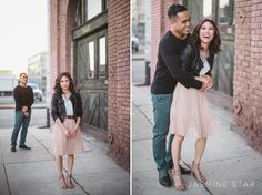 Feminine, but edgy.  Downtown Los Angeles Engagement : Michelle and Kevin…