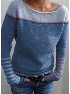 Long Sweaters, Sweaters For Women, Long Sleeve Sweater, Sweater Cardigan, Striped Knit, Pulls, Types Of Sleeves, Shirt Style, Knitting