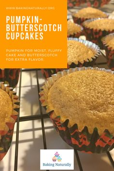 These pumpkin cupcakes with cream cheese frosting are a big hit in the neighborhood!  Fragrant with pumpkin spice, dense and very moist, with just a dollop of frosting on top, they earned quite a few oohs and aahs!  Try a batch for your Halloween party! #bakingnaturally #pumpkincupcakes #baking #cakes #comfortfood #homemade