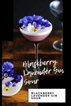 This gin sour is a great mix of lavender blackberry flavors.This egg white cocktail is elegant and and this is a great blackberry gin cocktail. Strawberry Gin, Raspberry Mojito, Blackberry Syrup, Gin Sour Recipe, Cocktail Syrups, Sour Cocktail, Purple Cocktails, Fun Cocktails