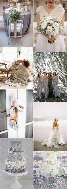 Fifty Shades of Grey For A Classy Wedding Day You may be tired of hearing about Fifty Shades of Grey but we're going for the classy way with gorgeous ideas for a grey wedding color scheme Grey Wedding Theme, Gray Wedding Colors, Wedding Color Schemes, Wedding Themes, Dream Wedding, Wedding Day, Colour Schemes, Color Trends, Garden Wedding
