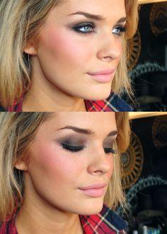 brown smokey eye, pink blush, matte pink lip <3