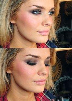 brown smokey eye, pink blush, matte pink lip <3