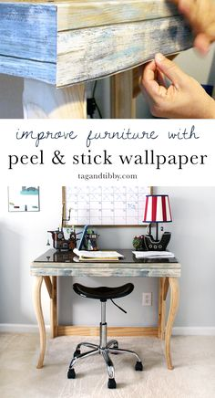 Decorating your home like an interior designer does not need to be expensive! Making use of hand-me-downs, garage sale goods, simple DIY furniture pieces and Large Furniture, Diy Furniture, Wallpaper Furniture, Upcycled Furniture, Rustic Home Interiors, Peel And Stick Wallpaper, Home Improvement Projects, Decoration, Furniture Makeover
