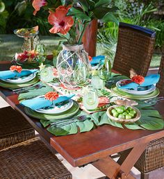 Island Getaway Tablescape - Pier 1 - love the hibiscus centerpiece & the star-shaped limes