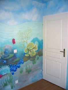 underwater mural Sea Murals, Ocean Mural, Wall Murals, Wall Art, Floor Murals, Ceiling Murals, Sea Bedrooms, Underwater Room, Ocean Room